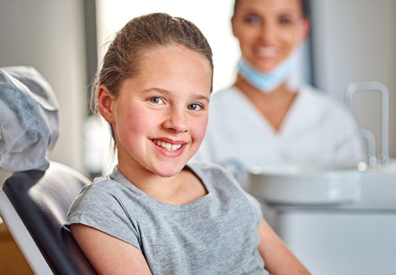 Young girl in office for dental checkup
