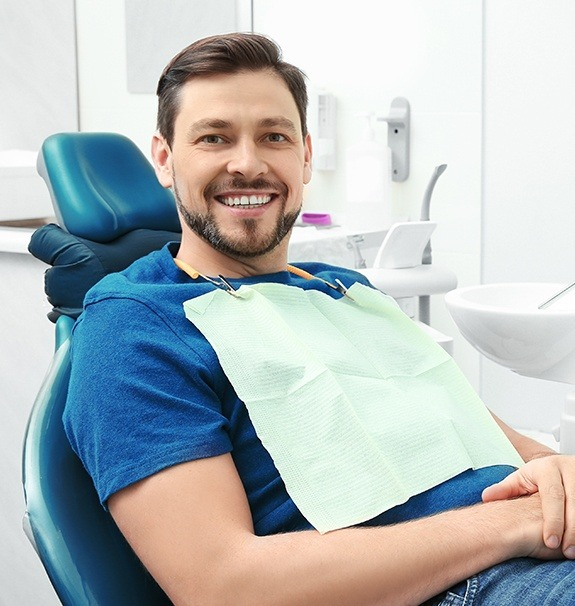 Man at dental office for preventive dentistry appointment