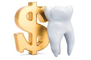 Tooth next to dollar sign, dental savings plan